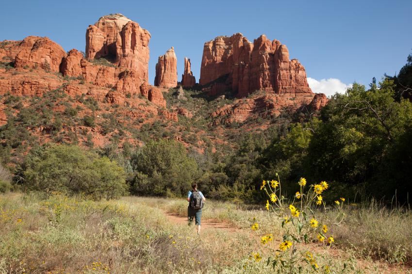 Woman Hiking toward Cathedral Rock (Sedona, Arizona)